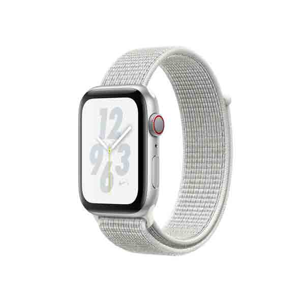 Apple Watch Nike+ Series 4 GPS + Cellular, 40mm Silver Aluminium Case with Summit White Nike Sport Loop (MTXF2AE/A)