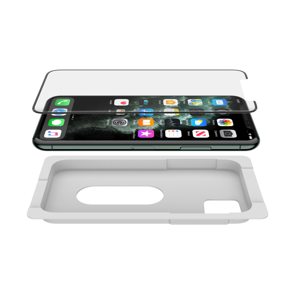 "BELKIN SCREENFORCE™ TRANSPARENT INVISIGLASS CURVED (E2E) FOR IPHONE 11 PRO MAX/ Xs MAX (6.5"") WITH EZ TRAY INSTALLATION F8W944zzBLK"