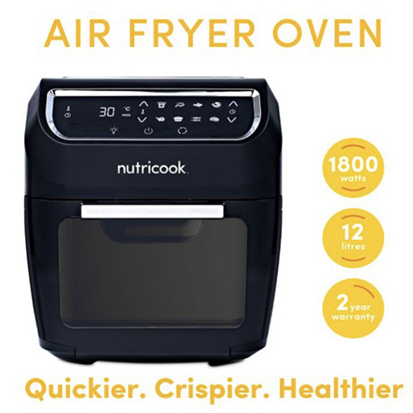 Nutricook Air Fryer Oven by Nutribullet - 12.0 Liters, 1800 Watts Black (NC-AFO12)