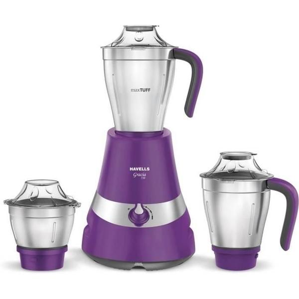 Havells Gracia 750W 3 Jar Mixer Grinder - Purple (GRACIA750W3PS)
