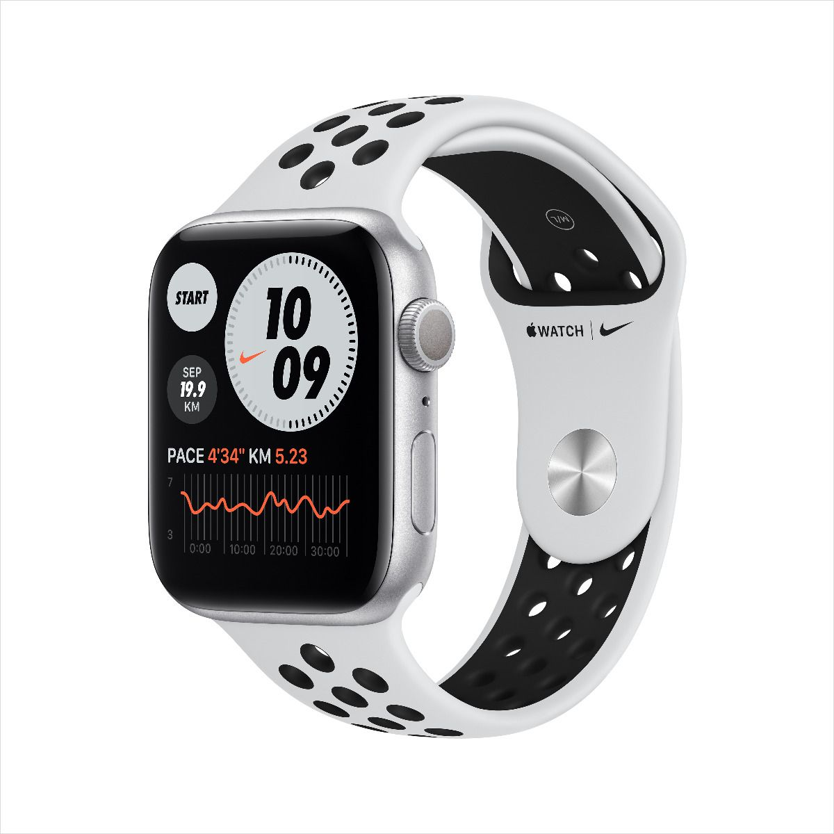 Apple Watch Nike Series 6 GPS, 40mm Silver Aluminium Case with Pure Platinum/Black Nike Sport Band (M00T3AE/A)