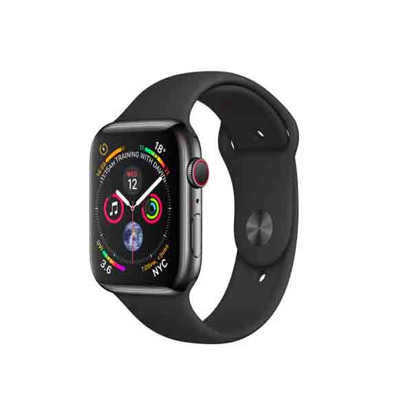 Apple Watch Series 4 GPS + Cellular, 40mm Space Black Stainless Steel Case with Black Sport Band (MTVQ2AE/A)