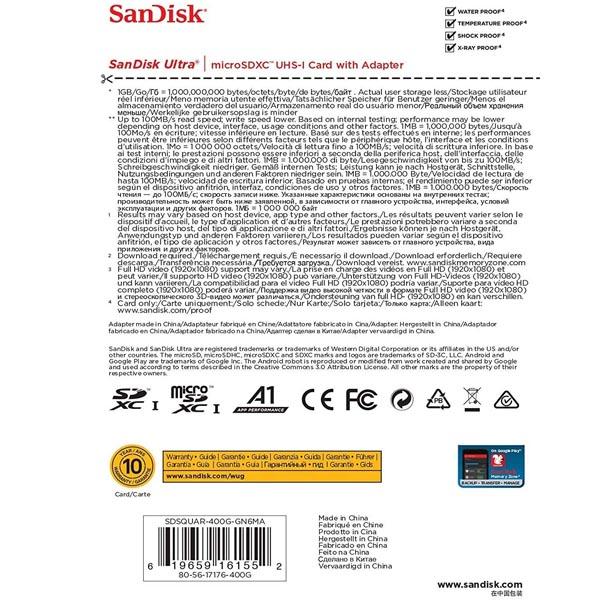 SanDisk Ultra micro SDXC, 400GB, U1, C10, A1, UHS-1, 100MB/s R, 4x6, 10Y  (SDSQUAR-400G-GN6MN)