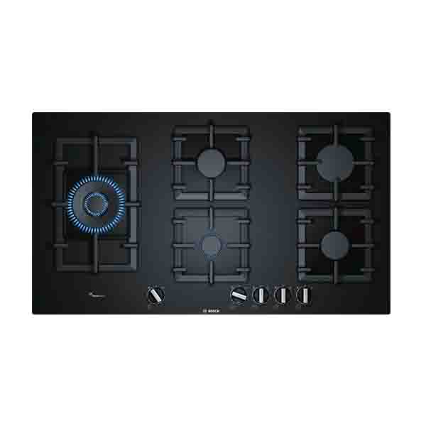 BOSCH 90cm Ceramic Gas Hob, 5 gas burners, Ignition via control knob (PPS9A6B90M)