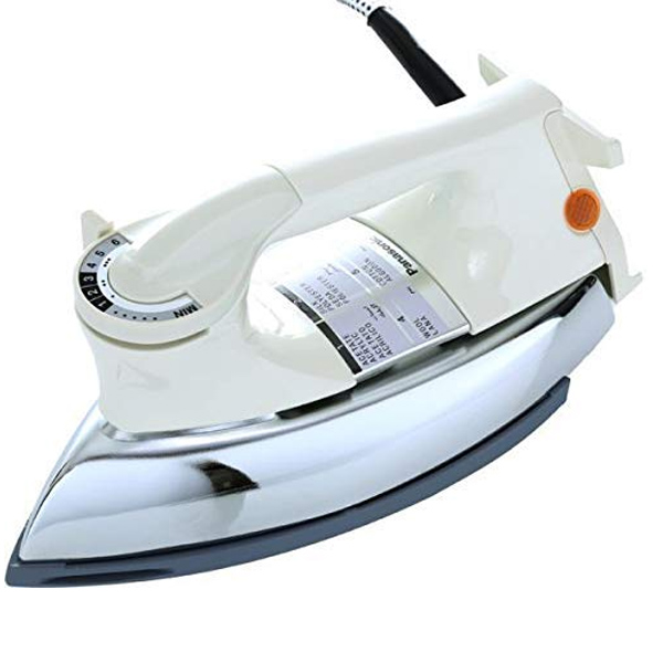 Panasonic Heavy Weight Dry Iron, 1000 W, Non-Stick Coated Sole Plate, Big Fabric Guide, Temperature Setting Dial, Thermostatic Pilot Lamp, Made in Malaysia (NI22AWT)