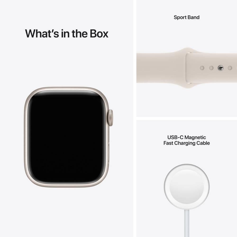 Apple Watch Series 7 GPS, 41mm Starlight Aluminium Case with Starlight Sport Band - Regular - MKMY3AE/A + EXTRA BAND
