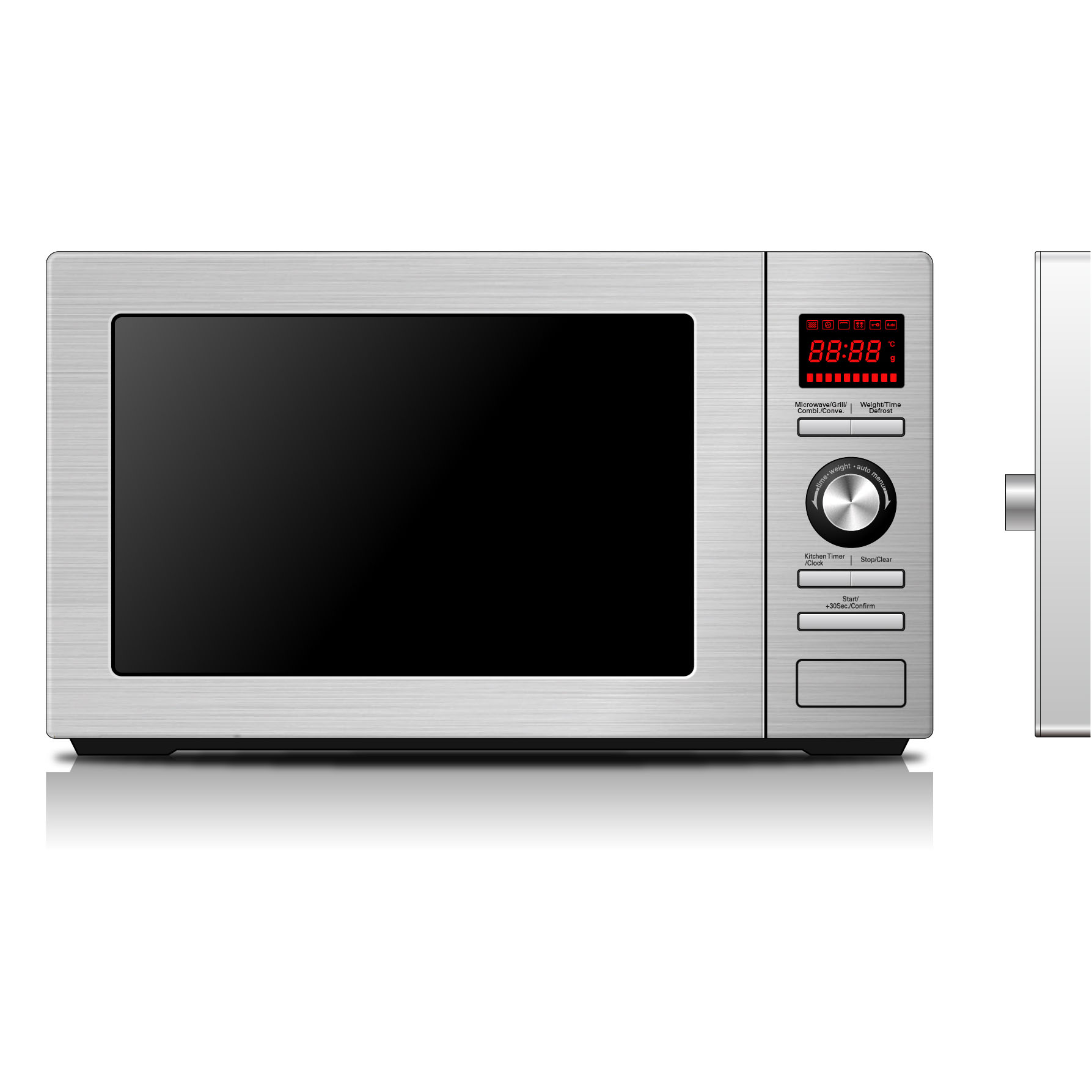 BAUMATIC 30cm Freestanding Microwave Oven with Grill, 25Ltrs (BMEMWFS25SS)