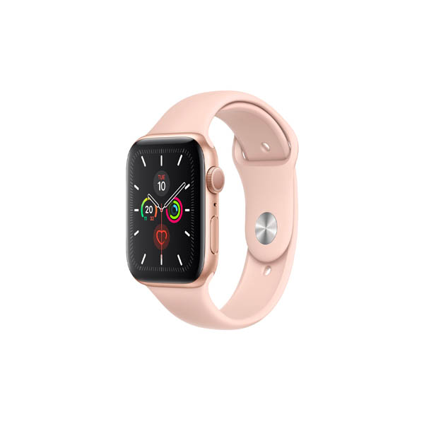 APPLE WATCH SERIES 5 GPS + CELLULAR, 44MM GOLD ALUMINIUM CASE WITH PINK SAND SPORT BAND - S/M & M/L (MWWD2AE/A)