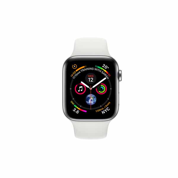 Apple Watch Series 4 44mm GPS and Cellular Silver Stainless Steel Case With White Sport Band MTX02