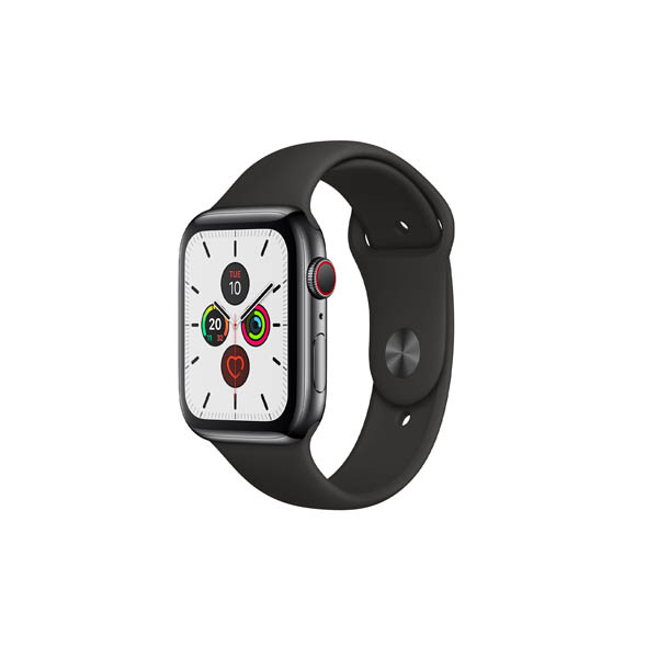 APPLE WATCH SERIES 5 GPS + CELLULAR, 44MM SPACE BLACK STAINLESS STEEL CASE WITH BLACK SPORT BAND - S/M & M/L (MWWK2AE/A)