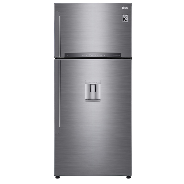 LG 830 Liters Top Mount Refrigerator with Linear Inverter Compressor, Hygiene Fresh Plus Technology, Water Dispenser, Shiney Steel - GR-F832HLHU