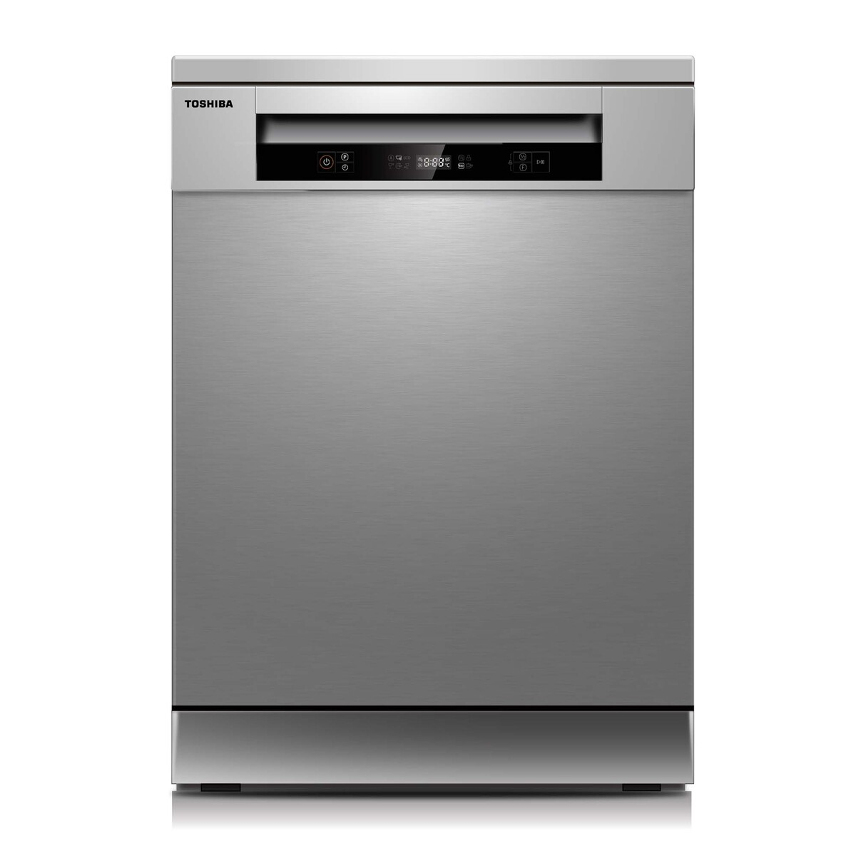 Toshiba 6 Programs 14 Place Settings Free Standing Dishwasher Silver DW14F1S
