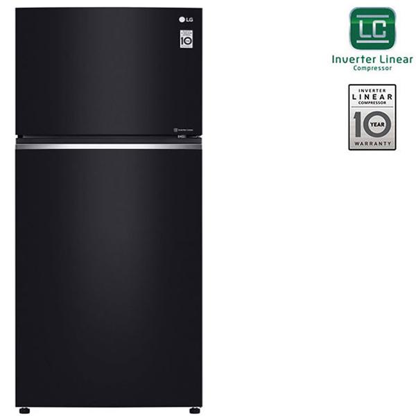 LG 730 Liters Top Mount Refrigerator with Linear Inverter Compressor, Hygiene Fresh Plus Technology, Black Glass Finish - GN-C732SGGU