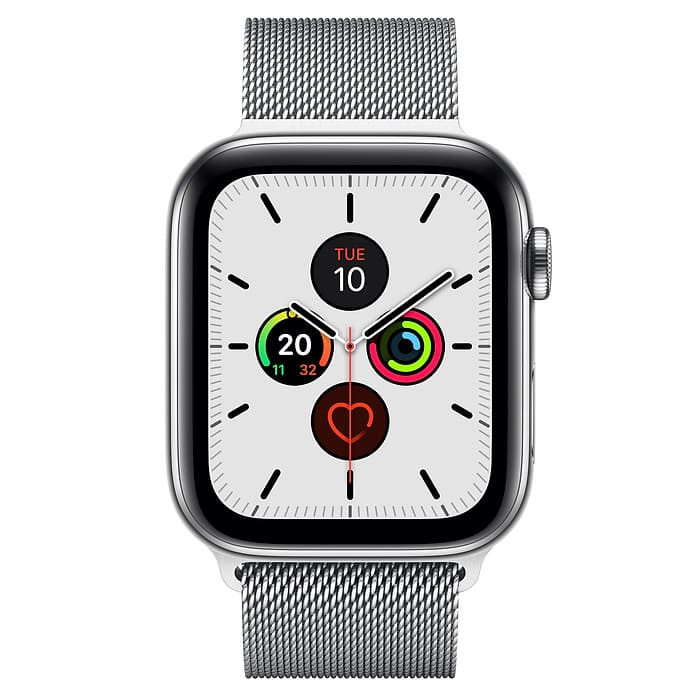 Apple Watch Series 5 GPS + Cellular, 44mm Stainless Steel Case with Stainless Steel Milanese Loop (APPLE WATCH S5 44 P SS MIL LP CEL-AMU)