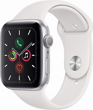 Apple Watch Series 5 GPS + Cellular, 44mm Silver Aluminium Case with White Sport Band - S/M & M/L (MWWC2AE/A)