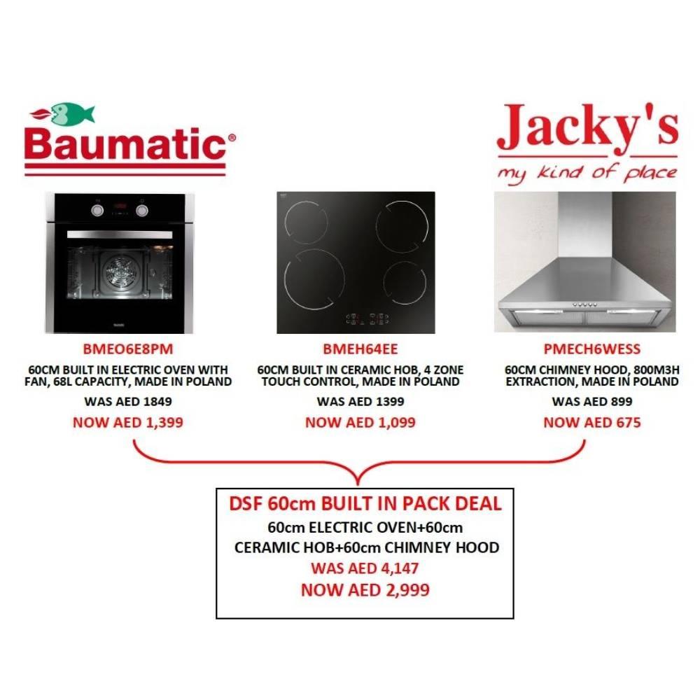 BAUMATIC 60cm ELECTRIC OVEN + 60cm CHIMNEY HOOD + 60cM CERAMIC HOB DEAL PACK