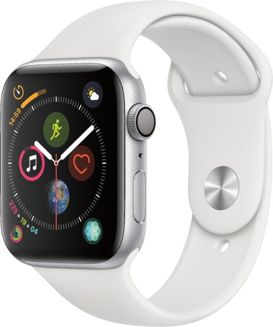 Apple Watch Series 4 With GPS and Cellular Connectivity Silver Aluminium Case With White Sport Band 44 millimeter (MTVR2AE/A-WS)