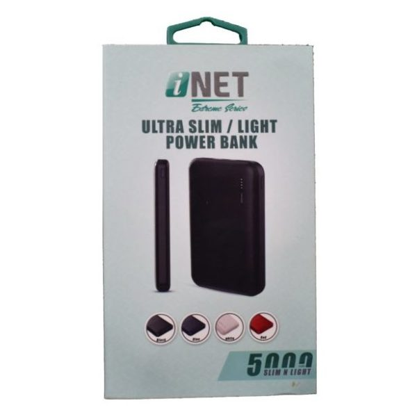 INET SLIM N LIGHT 5000MAH POWER BANK BLACK INPBK350BK