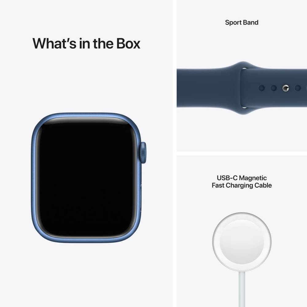 Apple Watch Series 7 GPS, 41mm Blue Aluminium Case with Abyss Blue Sport Band - Regular - MKN13AE/A + EXTRA BAND