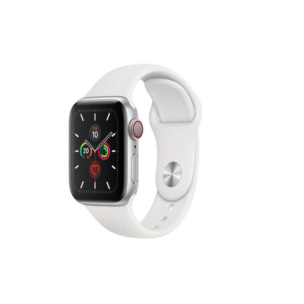 APPLE WATCH SERIES 5 GPS + CELLULAR, 40MM SILVER ALUMINIUM CASE WITH WHITE SPORT BAND - S/M & M/L (MWX12AE/A)