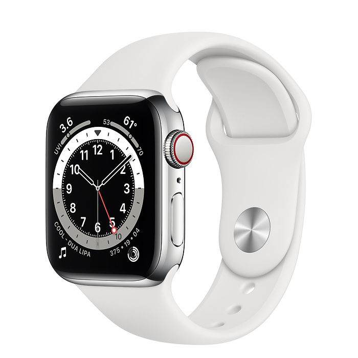 Apple Watch Series 6 GPS + Cellular, 40mm Silver Stainless Steel Case with White Sport Band - Regular M06T3AE/A