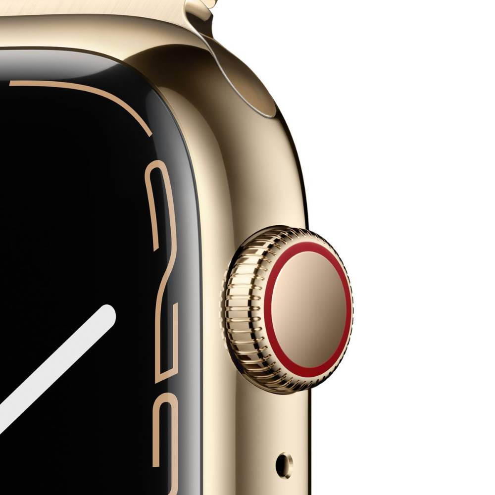 Apple Watch Series 7 GPS + Cellular, 41mm Gold Stainless Steel Case with Gold Milanese Loop - MKJ03AE/A + EXTRA BAND