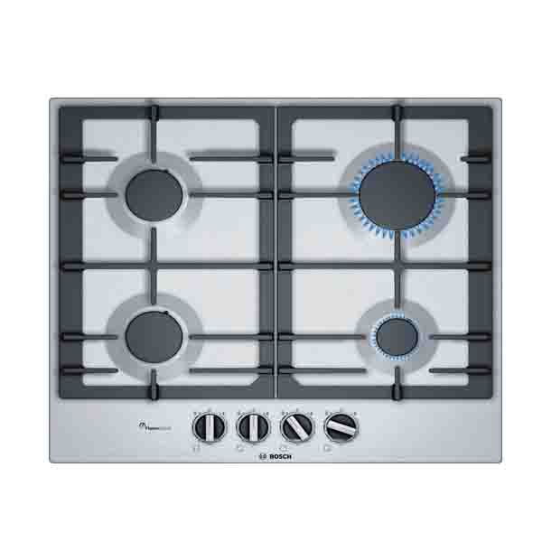 BOSCH 60cm St.Steel Gas Hob Cast iron pan supports Full Safety 4 Gas Burners (PCP6A5B90M)