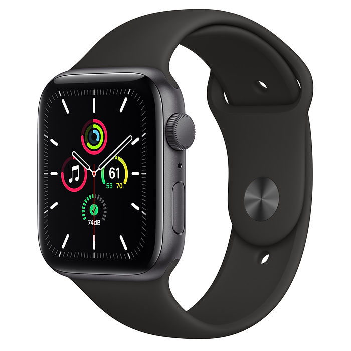 Apple Watch Nike SE GPS, 44mm Space Gray Aluminium Case with Anthracite/Black Nike Sport Band - Regular MYYK2AE/A