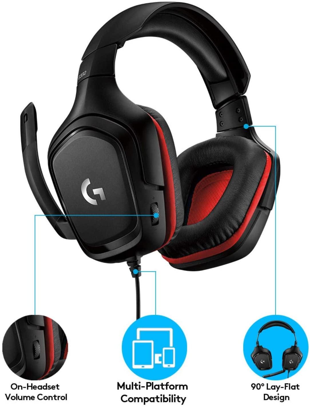 GAMING HEADSET G332  BLACK/RED 981-000757