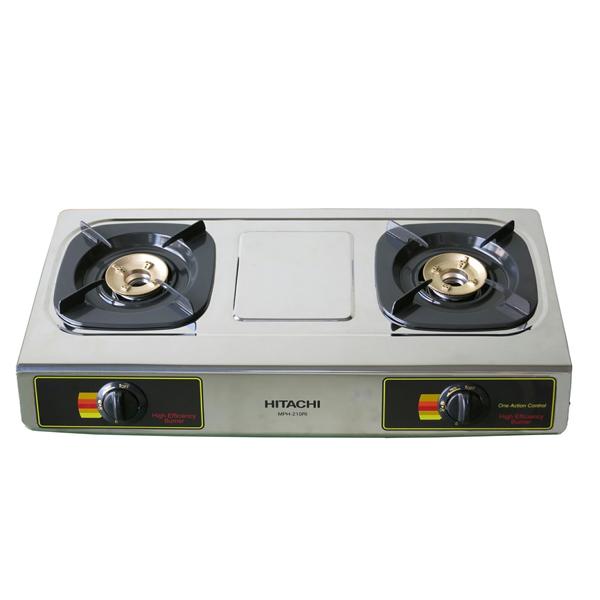 Hitachi Two-burner gas table Stainless steel top plateBrass burner head (MPH210RI)