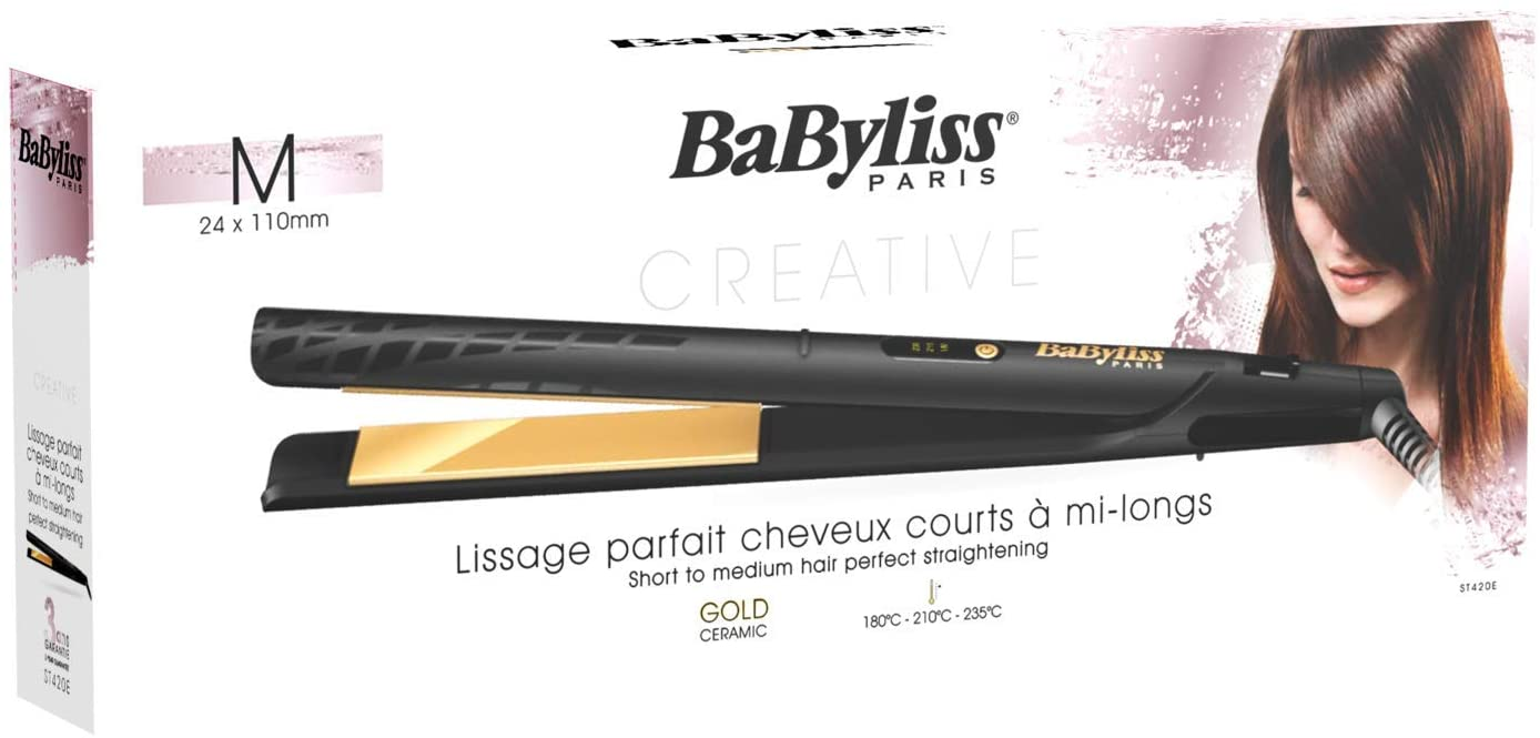 BaByliss BABST420SDE Hair Straightener 3 Temperature LED, 24mm Gold