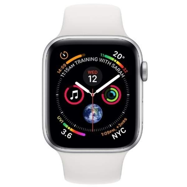 Apple Watch Series 4 GPS, 40mm Silver Aluminium Case with White Sport Band (MU642AE/A)