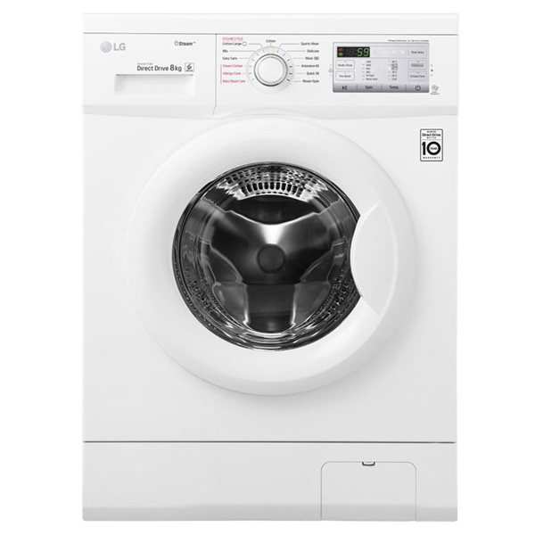 LG Front Load Washer, 8 Kg, 6 Motion Direct Drive, Steam Technology, Smart Diagnosis™ FH4G7TDY0