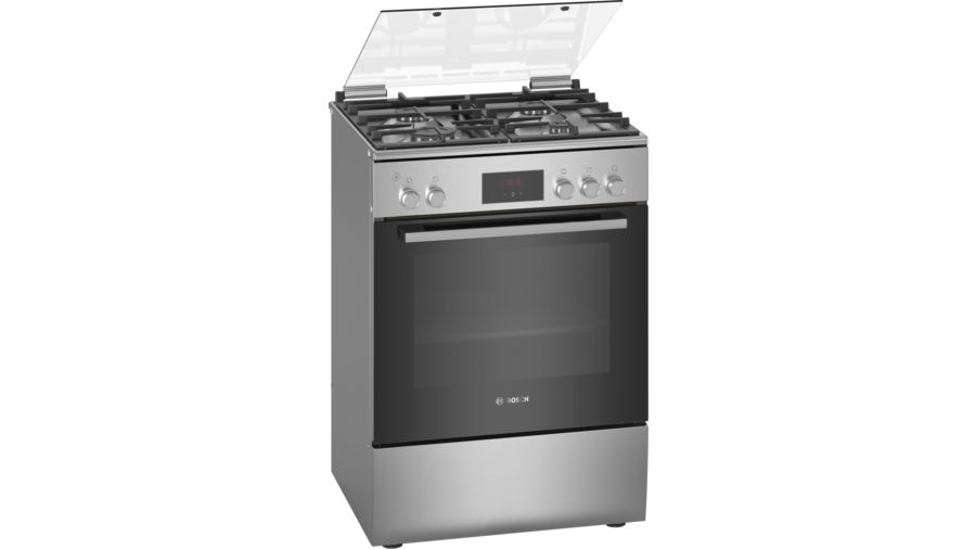 Bosch Serie 4 free-standing gas cookerStainless steel HGB320E50M