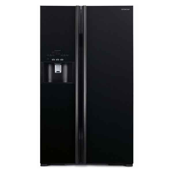 Hitachi Side By Side Refrigerator, Glass Black (RS700GPUK2GBK/GS)
