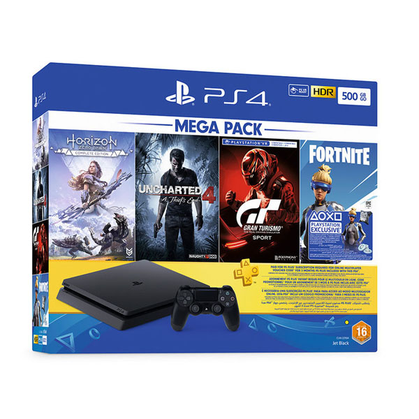 Sony PS4 Slim Gaming Console 500GB Black + Horizon Zero Dawn Complete Edition + Uncharted 4 A Thief's End + PSVR Gran Turismo Sport + Fortnite + PS Plus 3 Months Code (CUH2216A500GB)