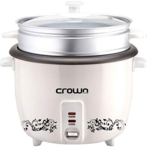 Crownline Rice Cooker with Steamer, White (RC168)