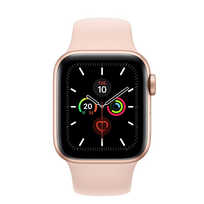 Apple Watch Series 5 GPS + Cellular, 40mm Gold Aluminium Case with Pink Sand Sport Band - S/M & M/L - PRE- BOOKING ONLY