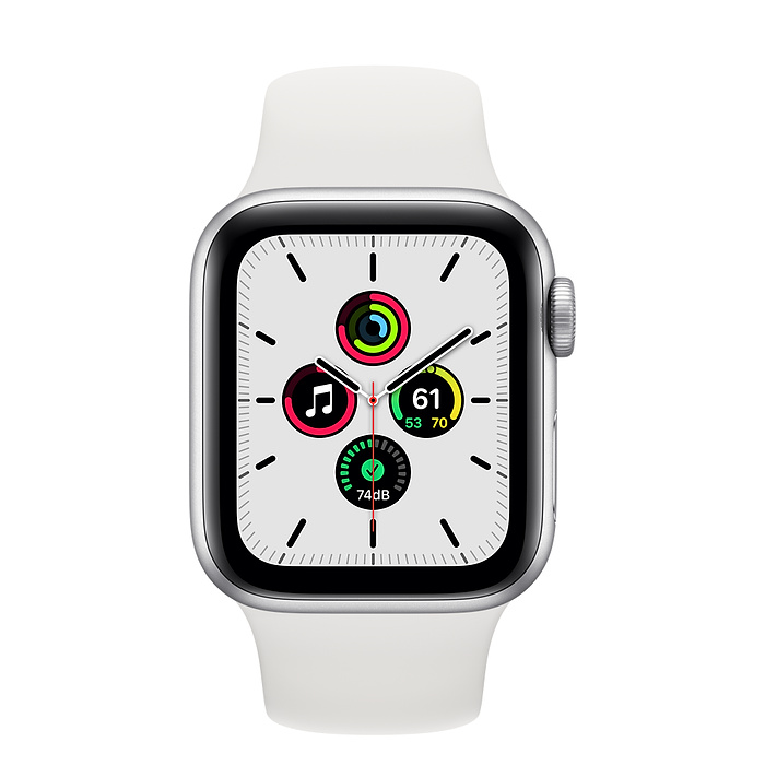 Apple Watch SE GPS, 40mm Silver Aluminium Case with White Sport Band - Regular MYDM2AE/A