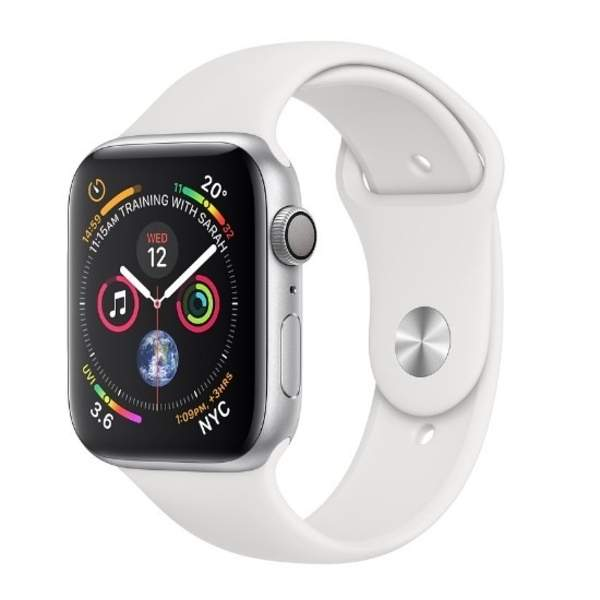 AppleWatch Series4 GPS,44mm Silver Aluminium Case with White Sport Band (MU6A2AE/A)