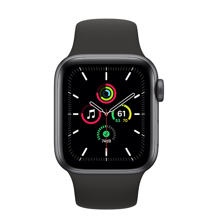 Apple Watch SE GPS 40mm Space Gray Aluminium Case with Black Sport Band - Regular MYDP2AE/A 2020