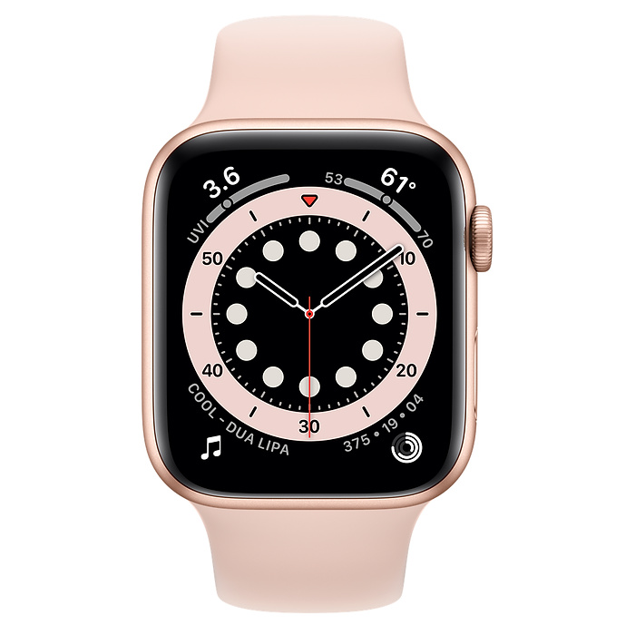 Apple Watch Series 6 GPS, 44mm Gold Aluminium Case with Pink Sand Sport Band - Regular M00E3AE/A