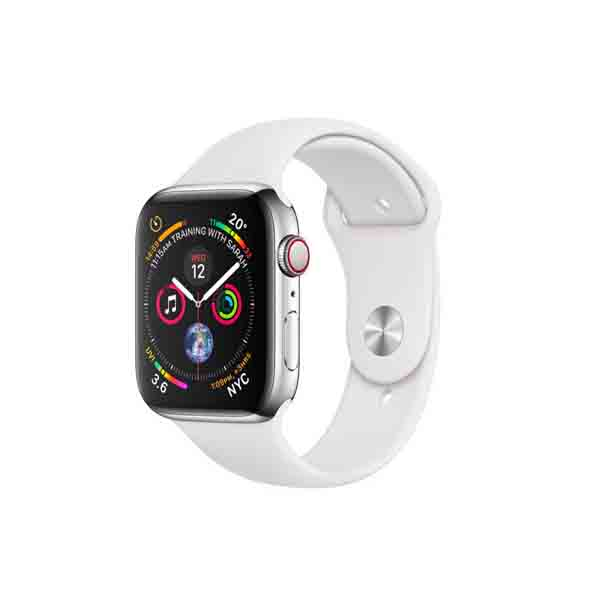 Apple Watch Series 4 GPS + Cellular 40mm Stainless Steel Case With White Sport Band (MTVJ2AE/A)
