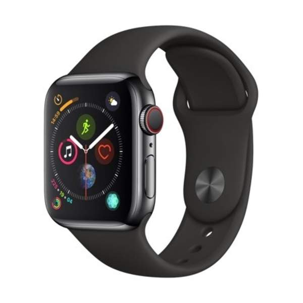 Apple Watch Series 4 GPS + Cellular, 40mm Space Grey Aluminium Case with Black Sport Band (MTVD2AE/A)