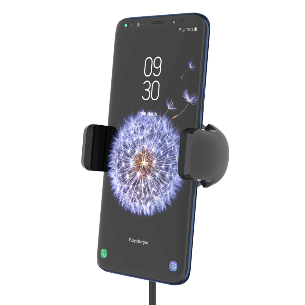 BELKIN 10W FAST WIRELESS CAR CHARGER AUTOMATIC CLAMPING VENT MOUNT HOLDER FOR SMARTPHONES WITH PASS-THRU CAR CHARGER, BLACK F7U053btBLK
