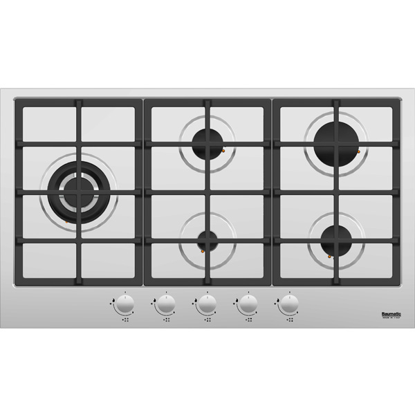 Baumatic 90X60CM 5 Burner Stainless Steel Gas Hob (BMEH9GSS)