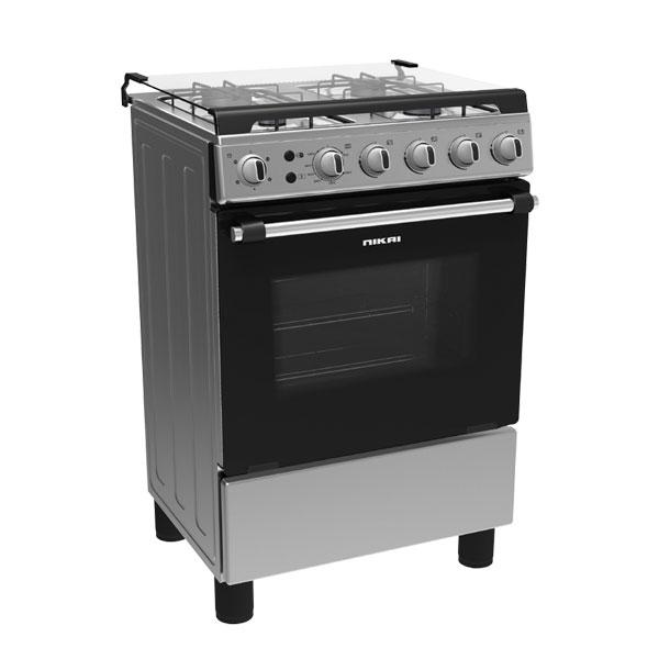 Nikai 60X60cm 4 Burner Gas Cooker, Silver (NCR6060NFS)