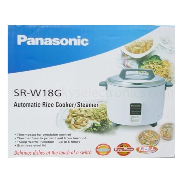 Panasonic 1.8L Rice Cooker, Stainless Steel Lid, Steaming Plate (SRW18G)