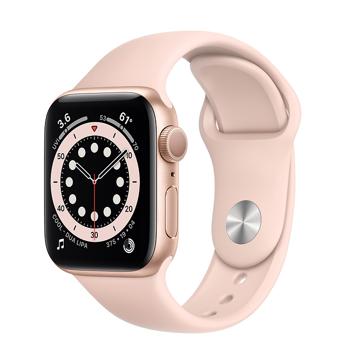Apple Watch Series 6 GPS + Cellular, 40mm Gold Aluminium Case with Pink Sand Sport Band - Regular M06N3AE/A
