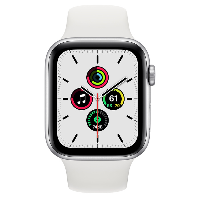 Apple Watch SE GPS 44mm Silver Aluminium Case with White Sport Band - Regular MYDQ2AE/A 2020